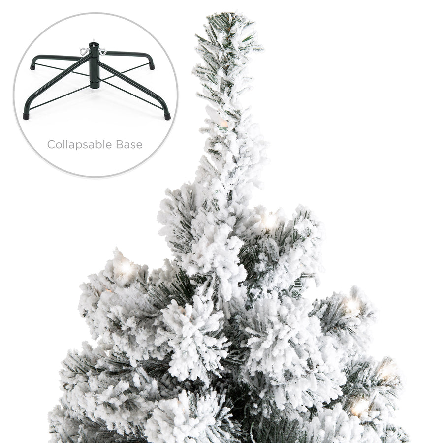 9ft snow flocked pre lit artifical pine christmas tree w warm white lights