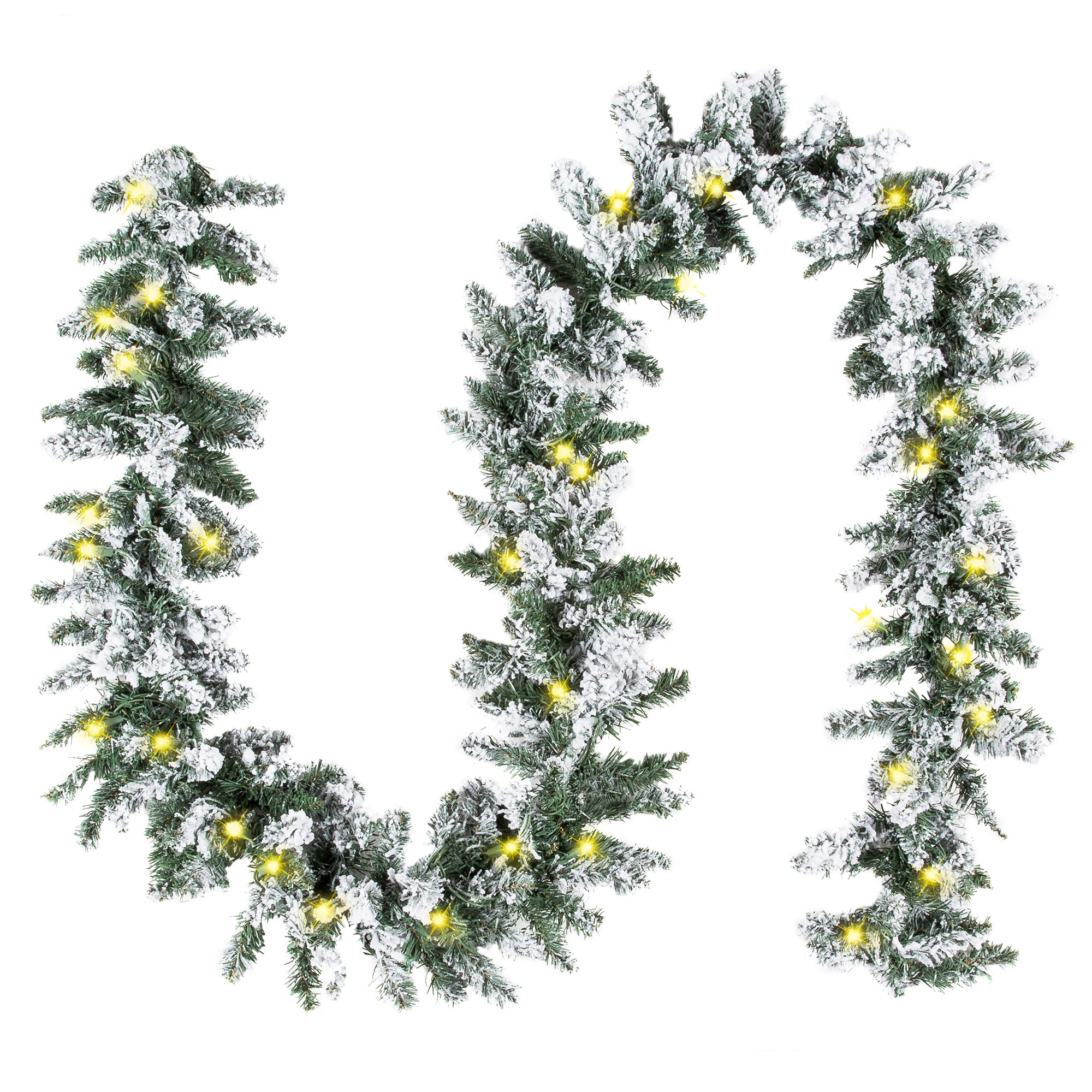 9ft Christmas Tree.9ft Pre Lit Snow Flocked Christmas Garland W 100 Clear Led Lights Green