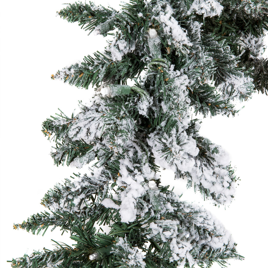 9ft Pre-Lit Snow Flocked Christmas Garland w/ 100 Clear LED Lights