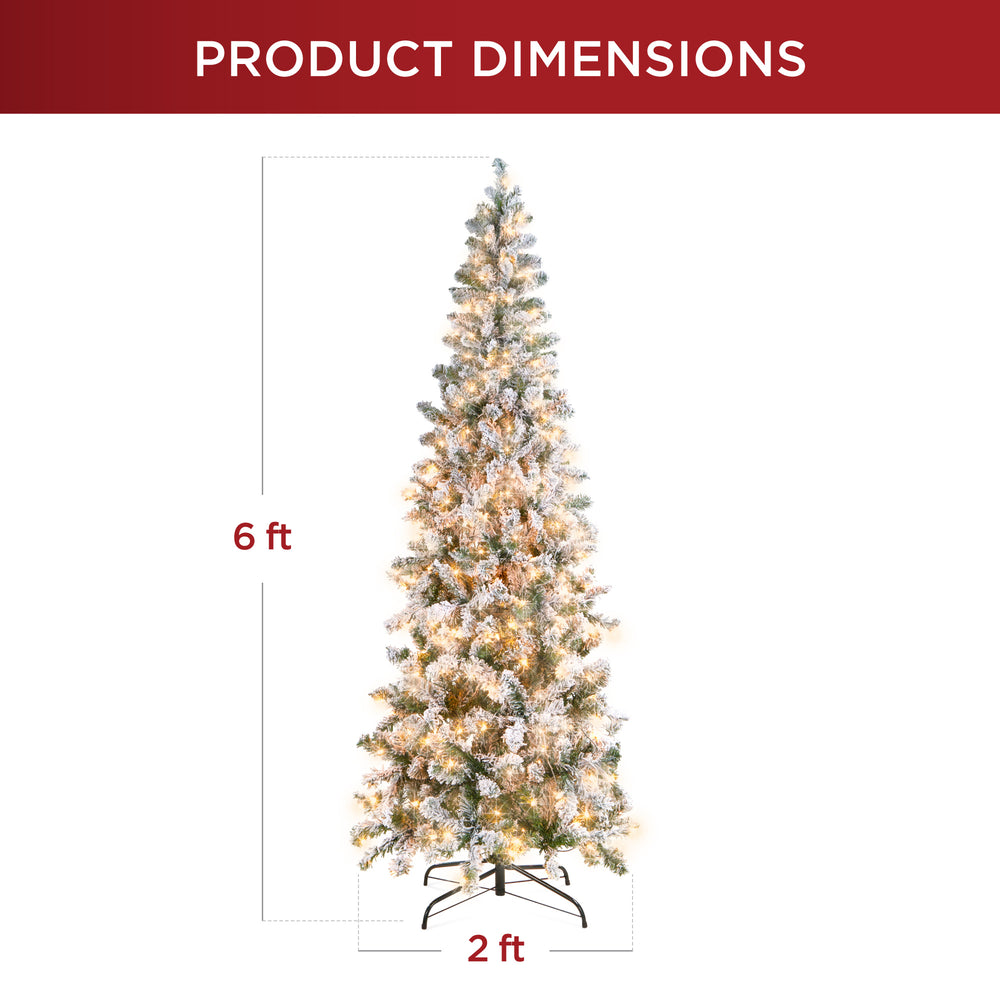Pre-Lit Snow Flocked Artificial Pencil Christmas Tree