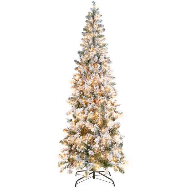 7.5ft Pre-Lit Artificial Christmas Pencil Tree w/ Snow Flocked Tips