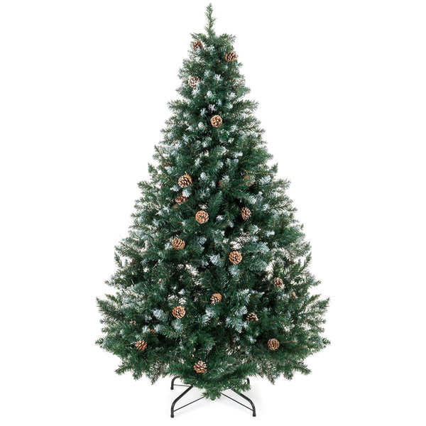 7ft Artificial Hinged Christmas Tree w/ Snow Flocked Tips, Pine Cones, Stand