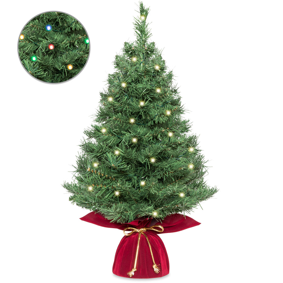 26in Pre Lit Artificial Tabletop Christmas Tree W 35