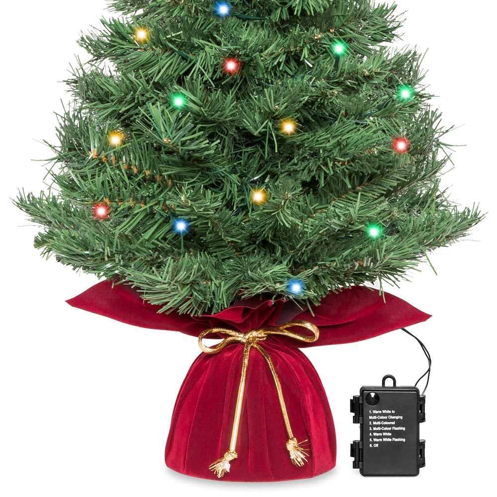 Table Top Lighted Christmas Tree: 26in Pre-Lit Artificial Tabletop Christmas Tree W/ 35