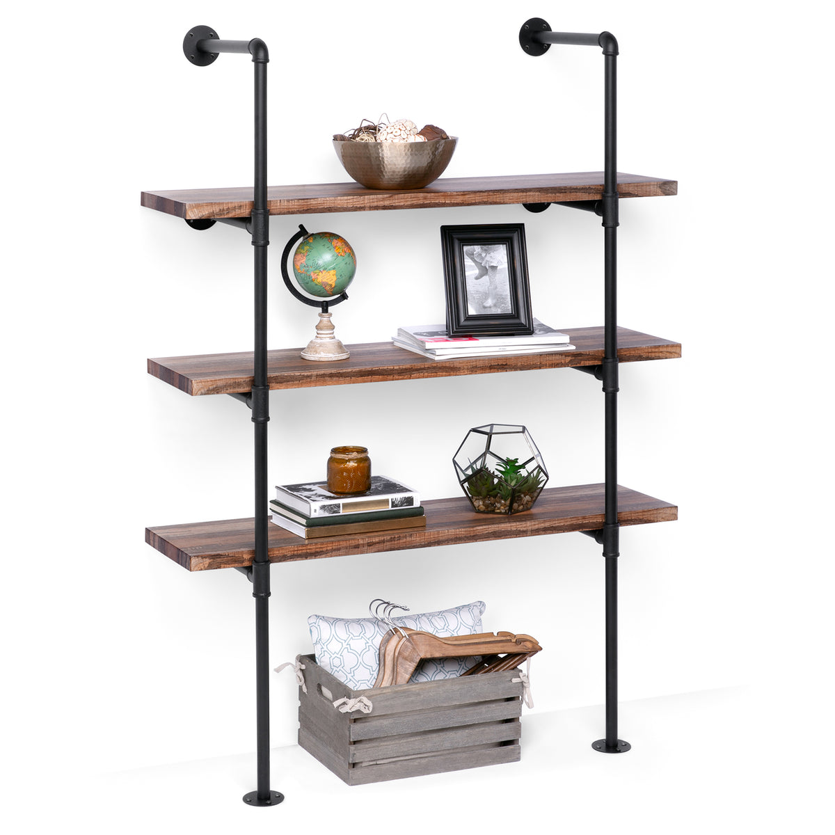 Shop 4-Tier Industrial Wall-Mounted Iron Pipe Bracket DIY Bookshelf Frame from Best Choice Products on Openhaus