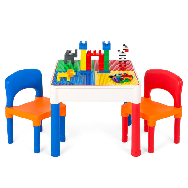 3-in-1 Kids Building Block Activity Play Table Set w/ Storage, 2 Chairs