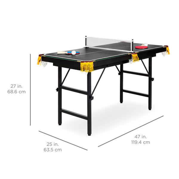 2-in-1 Ping Pong and Billiards Pool Combo Arcade Game Table w/ Foldable Legs