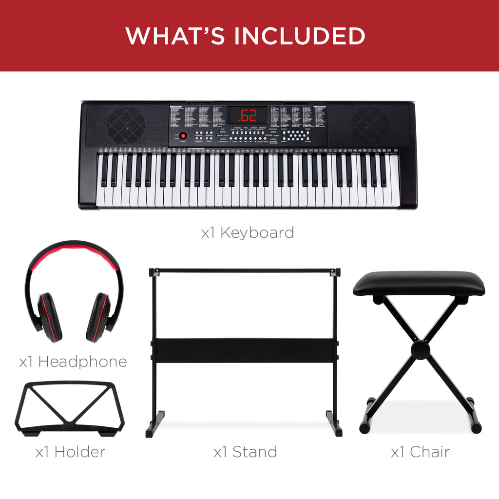 61-Key Beginners Electronic Keyboard Piano Set w/ 3 Modes, Microphone