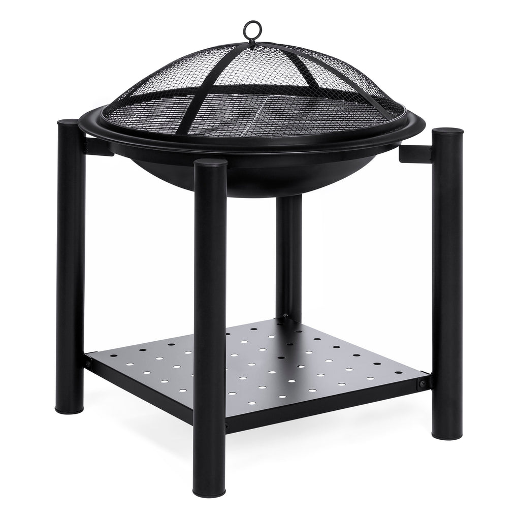21.5in Fire Pit Bowl Table w/ Storage Shelf, Mesh Cover, Log Grate, Poker