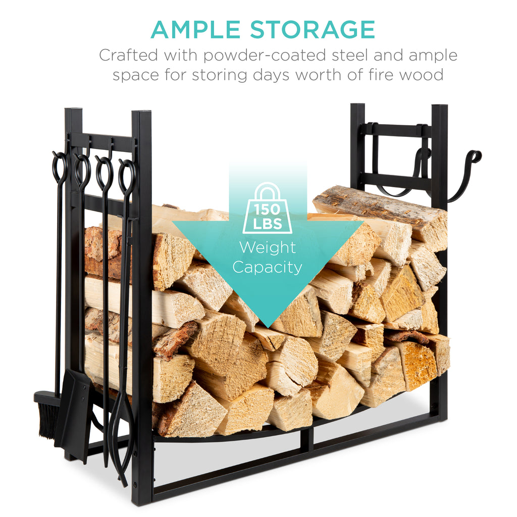Steel Firewood Log Storage Rack & Tool Set w/ Kindling Holder - 33.5in
