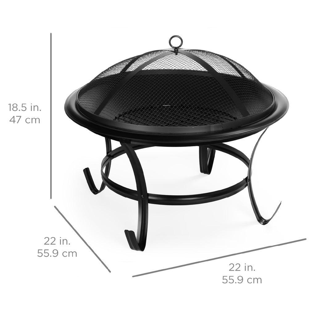 Steel Outdoor Patio Fire Pit Bowl w/ Screen Cover, Poker - 22in