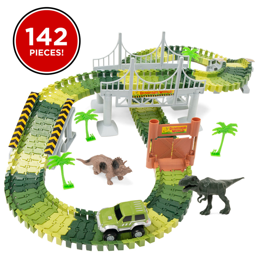 142-Piece Big Dinosaur Figure Racetrack Toy Play Set with Battery Operated Car