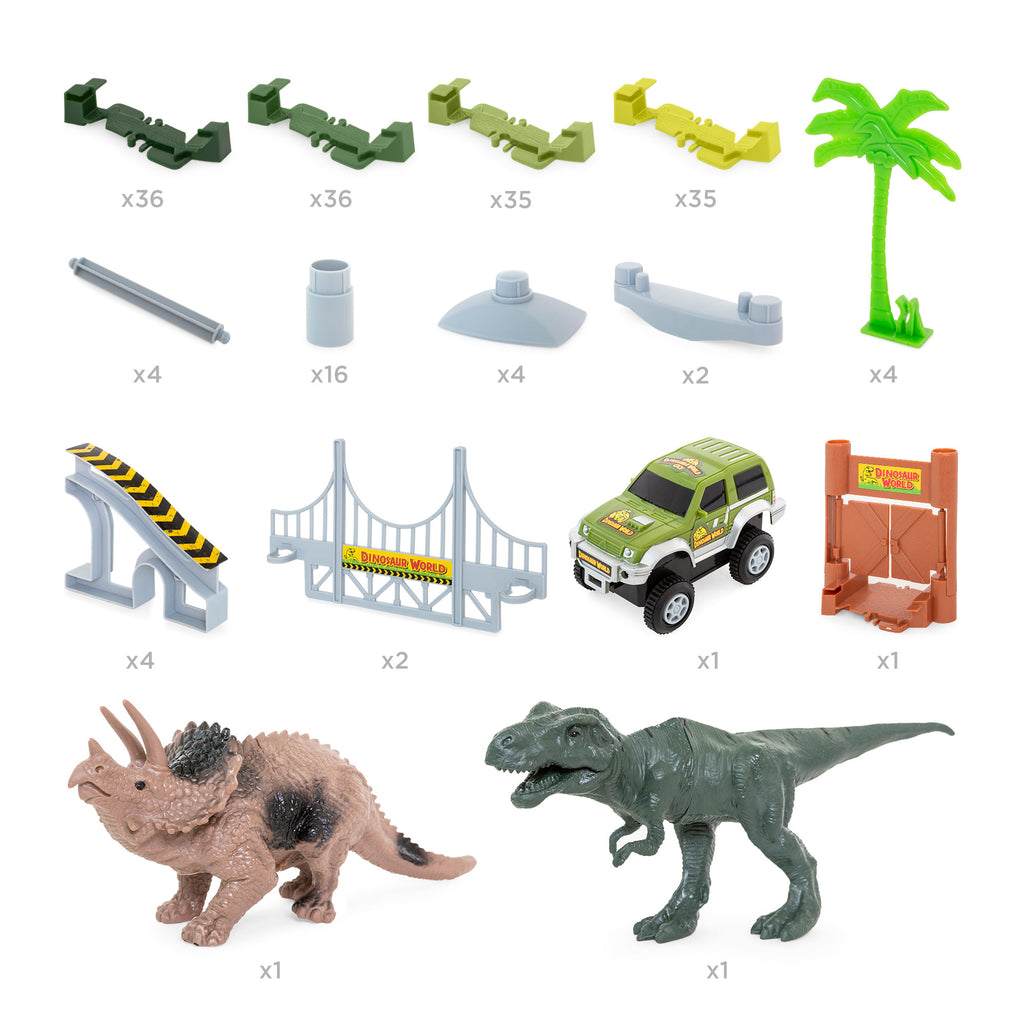 142-Piece Big Dinosaur Figure Racetrack Toy Play Set w/ Battery Operated Car
