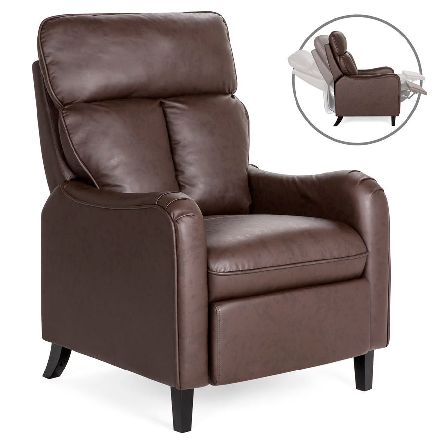 Best Choice Products Faux Leather English Roll Arm Chair Recliner With Leg Rest (Black / Brown)
