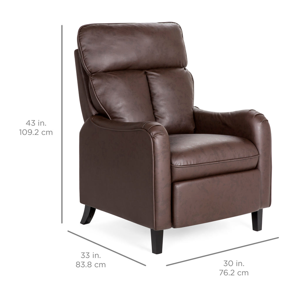 Faux Leather English Roll Arm Chair Recliner w/ 160-Degree Recline, Leg Rest