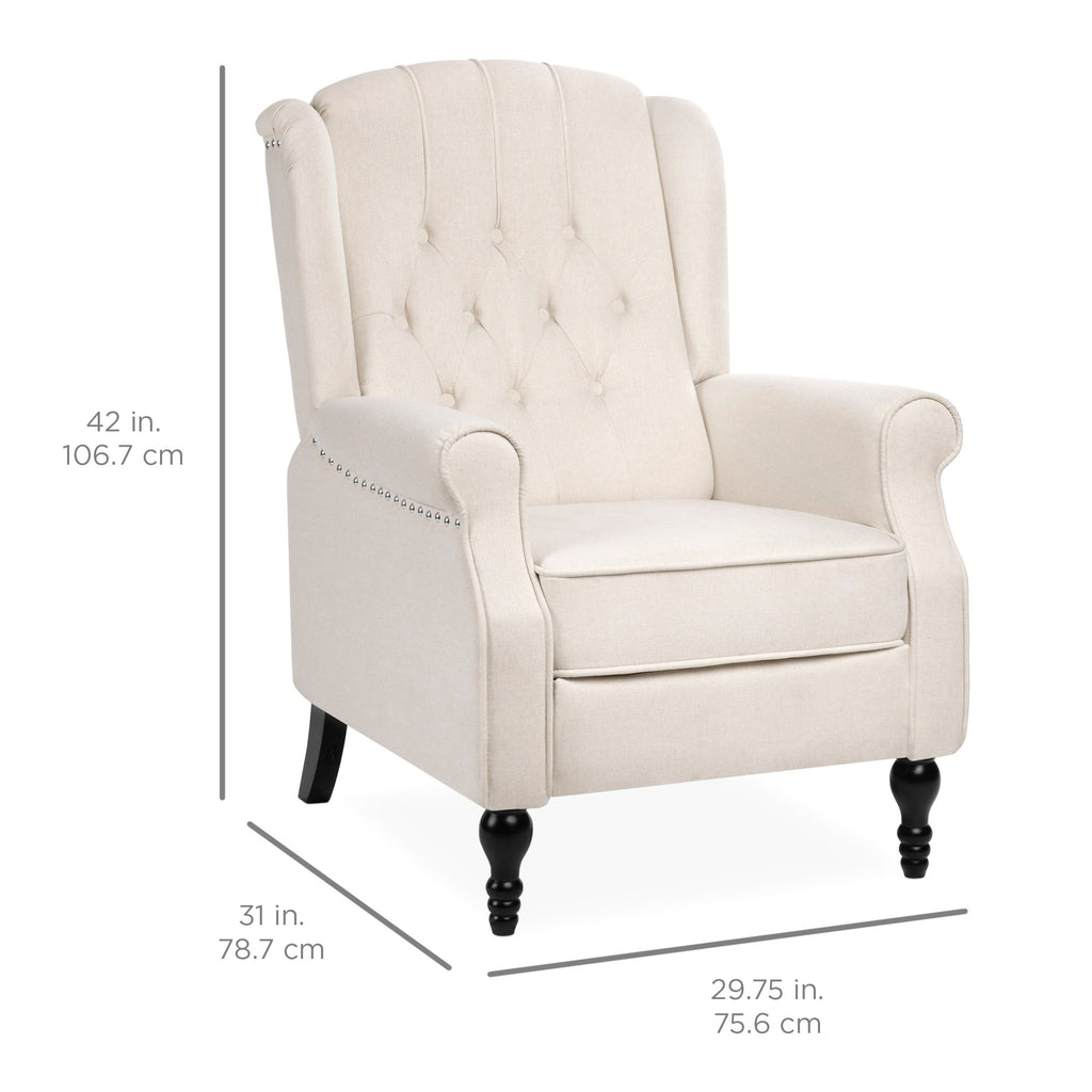 Tufted Upholstered Wingback Push Back Recliner Armchair w/ Nailhead Trim