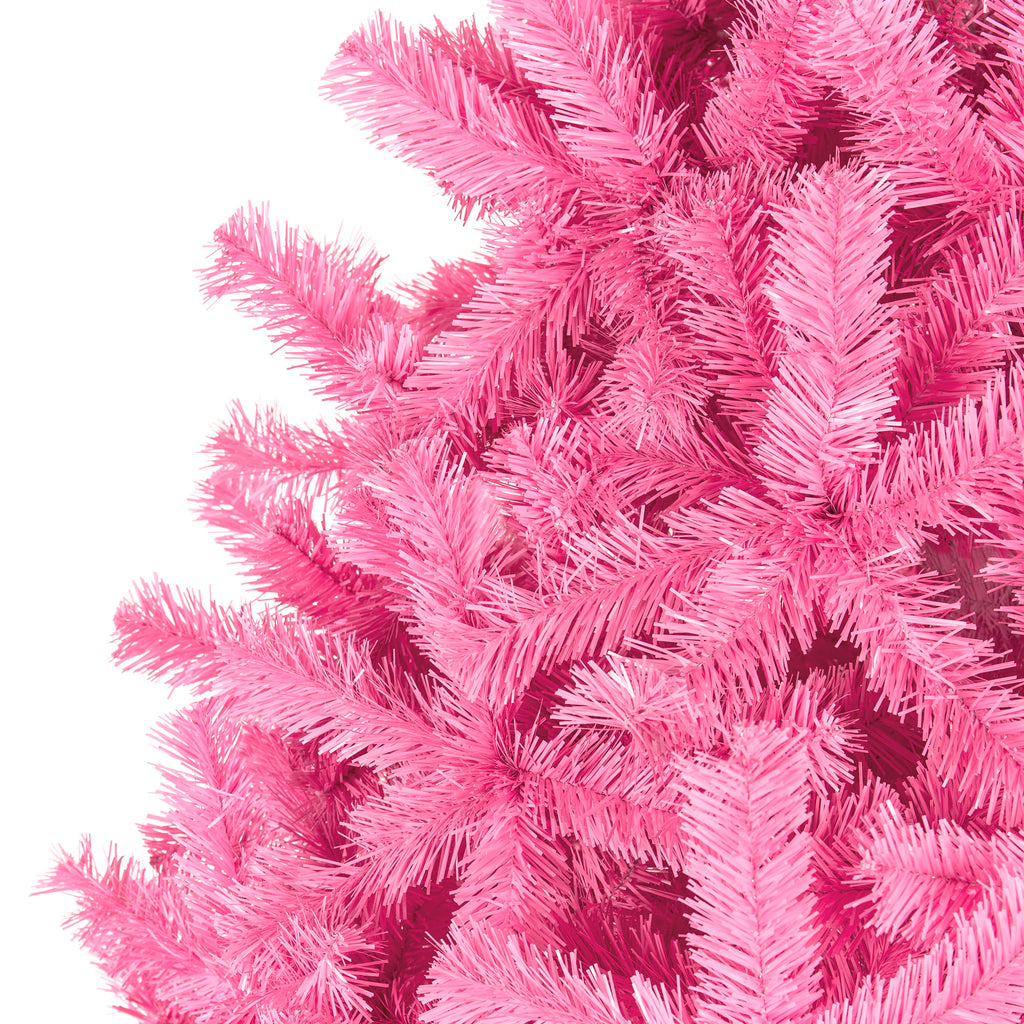Pink Artificial Fir Christmas Tree w/ Foldable Stand