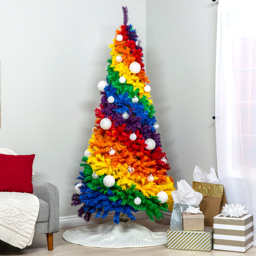 Proper Way To Decorate A Christmas Tree: 7ft Artificial Rainbow Full Fir Christmas Tree Holiday