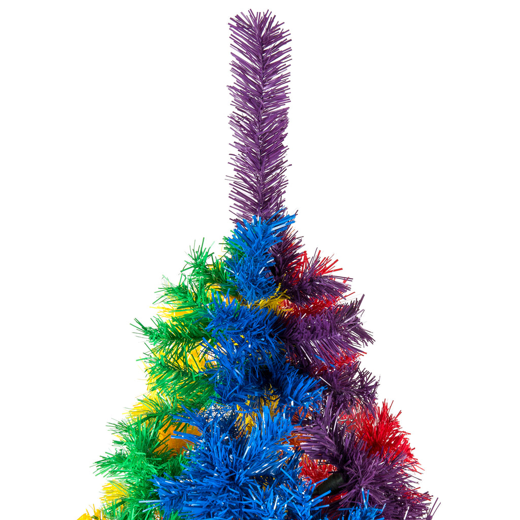7ft Artificial Rainbow Full Fir Christmas Tree Holiday Decor w/ Metal Stand