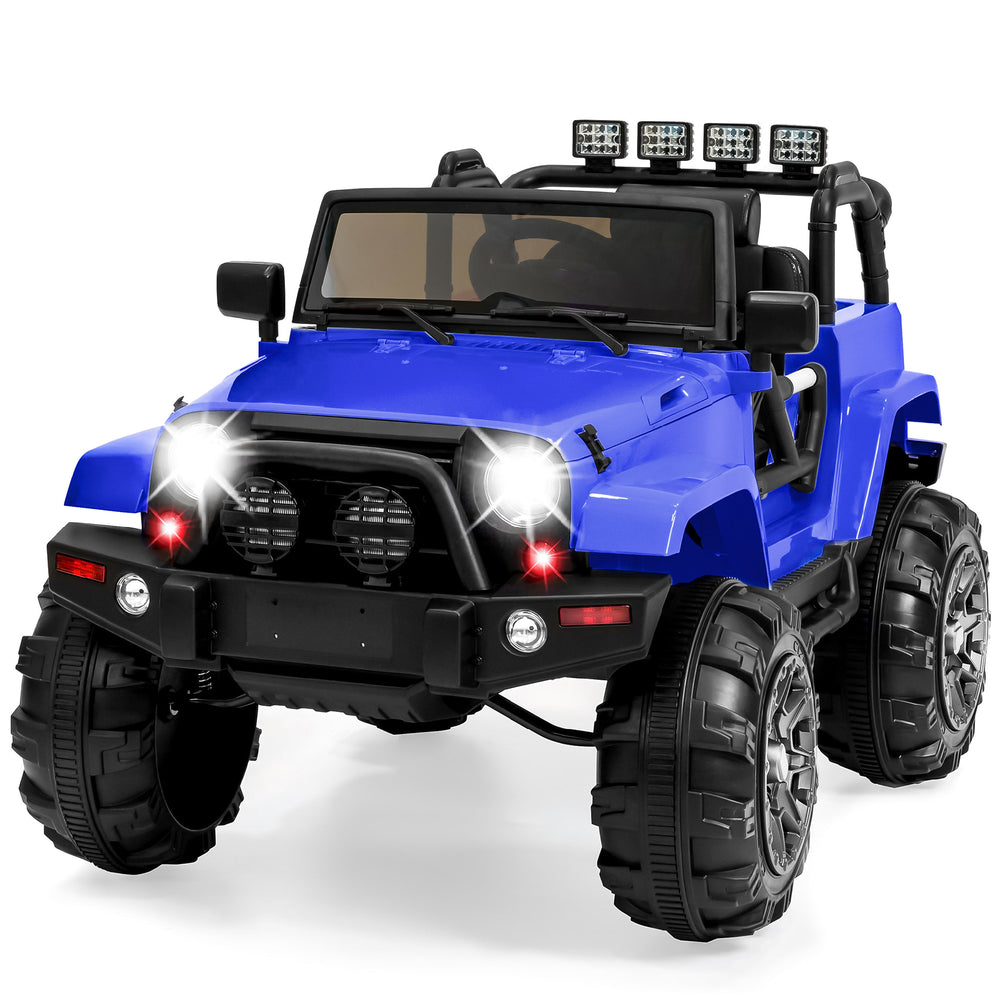 12V Kids Ride-On Truck Car Toy w/ 3 Speeds, LED Lights, Remote Control, Aux