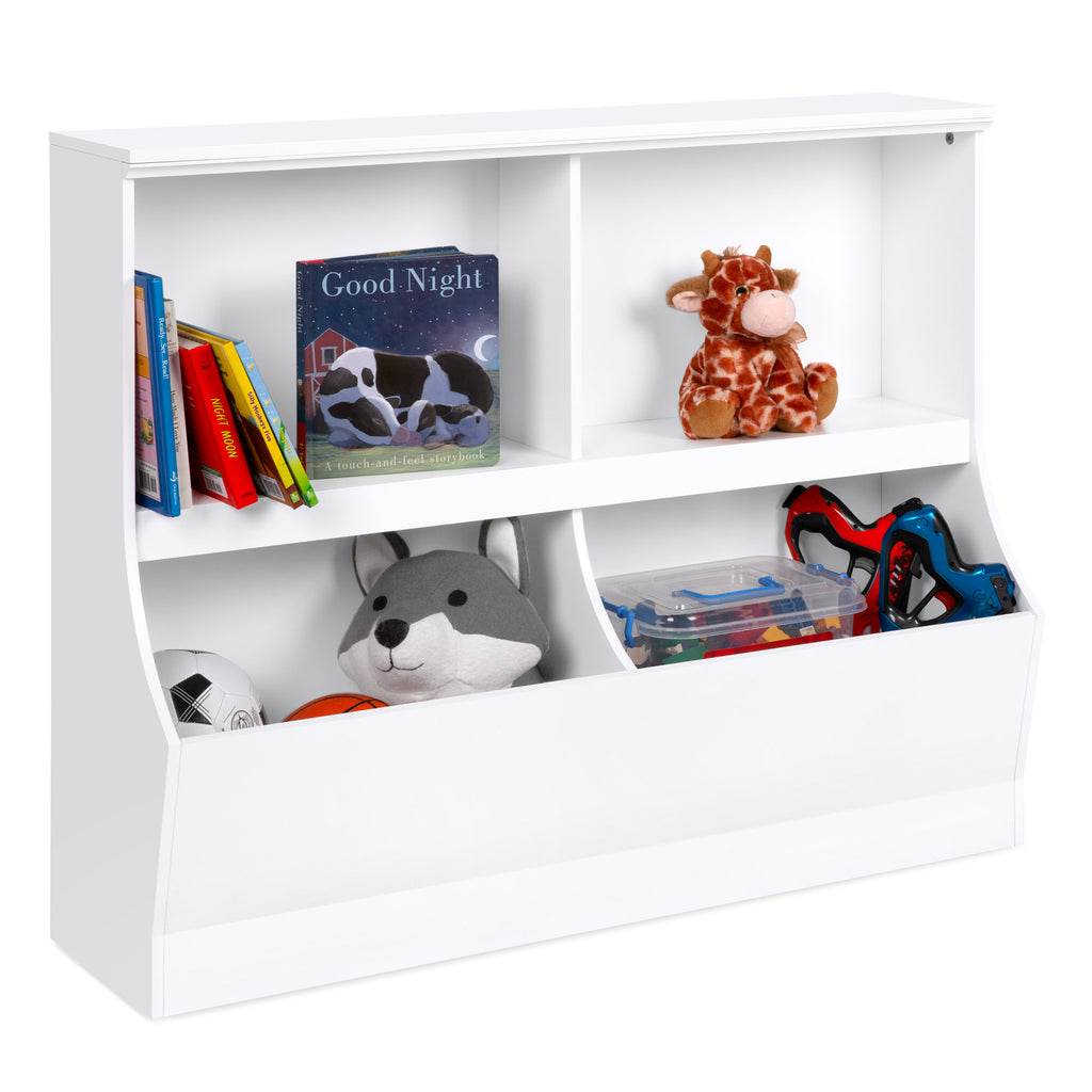 Kids Wooden Storage Cabinet for Toys, Books w/ 2 Shelves, 2 Cubbies