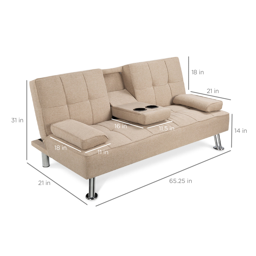 Linen Upholstered Convertible Futon w/ 2 Cupholders