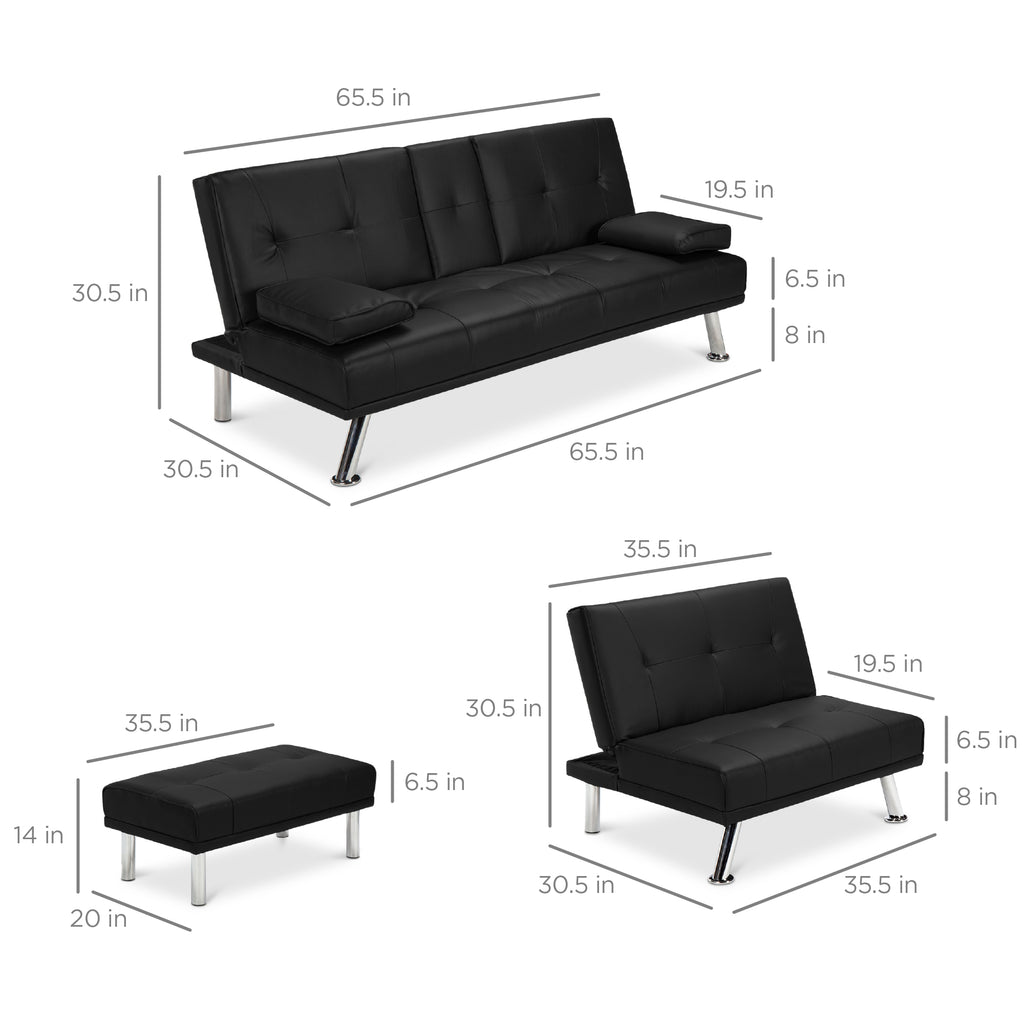 3-Piece Modular Modern Furniture Set w/ Double & Single Futons, Footstool