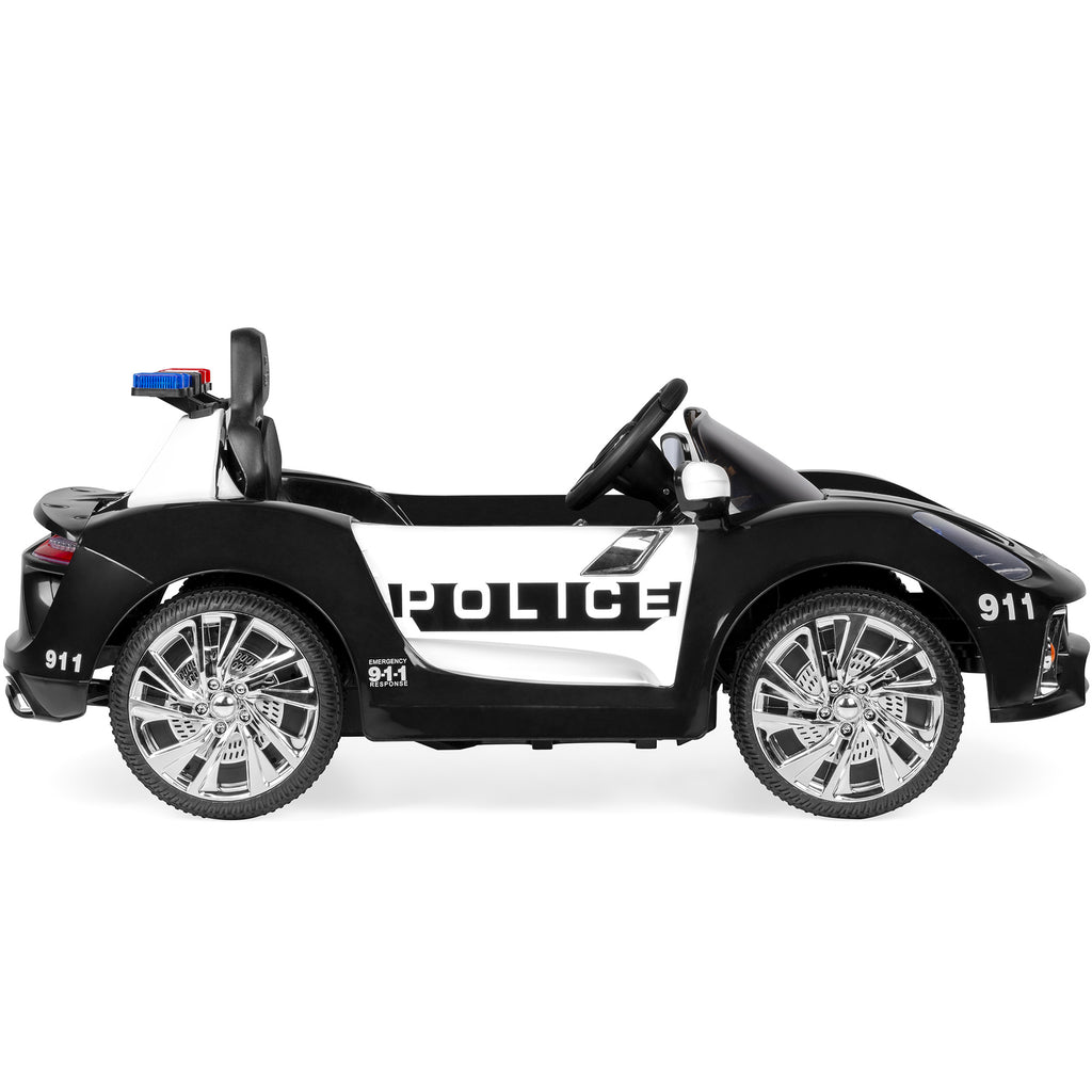 12V Kids Police Sports Car Ride-On w/ AUX Port, Parent Control, Sounds
