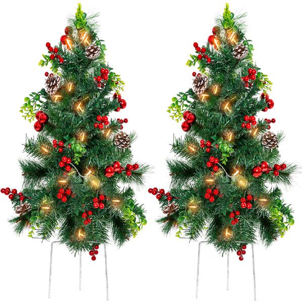 Set of 2 24.5in Pre-Lit Pathway Christmas Trees w/ Pine Cones, Ornaments