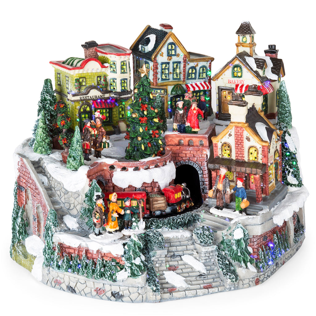 12in Pre-Lit Hand-Painted Tabletop Christmas Village Set w/ Rotating Train