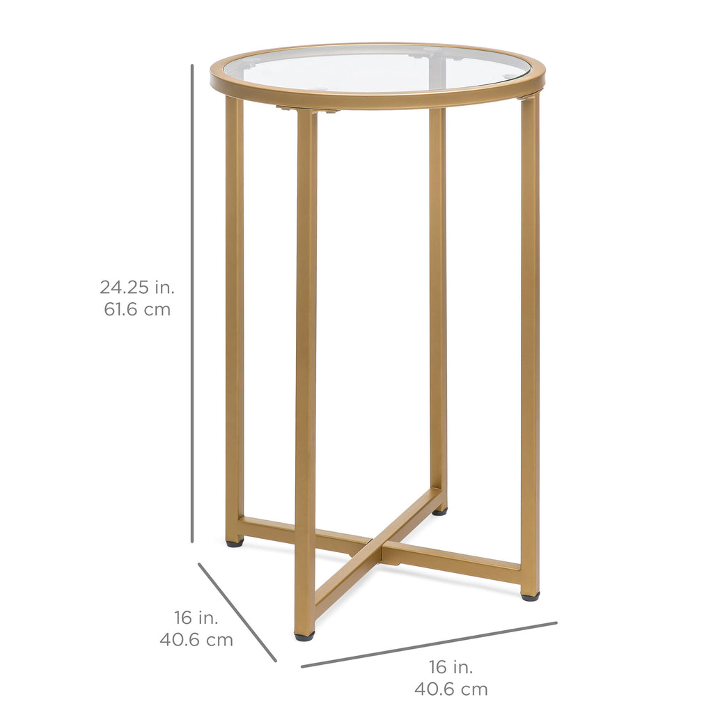 16in Modern Round Side Table Accent Furniture w/ Metal Frame, Glass Top