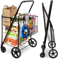 Deals on Folding Steel Storage Utility Shopping Cart w/ Bonus Basket