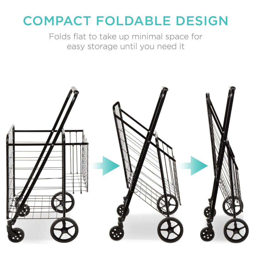 Folding Steel Storage Utility Shopping Cart w/ Bonus