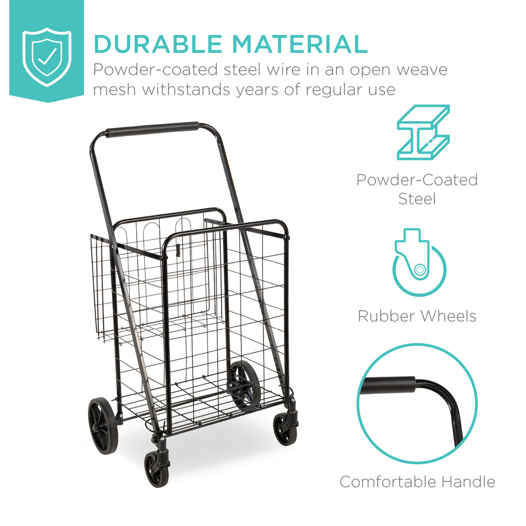 Folding Steel Storage Utility Shopping Cart w/ Bonus Basket, Swivel Wheels