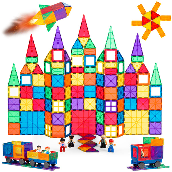 BCP 250-Pieces Rainbow 3D Magnetic Building Block Tile Play Set