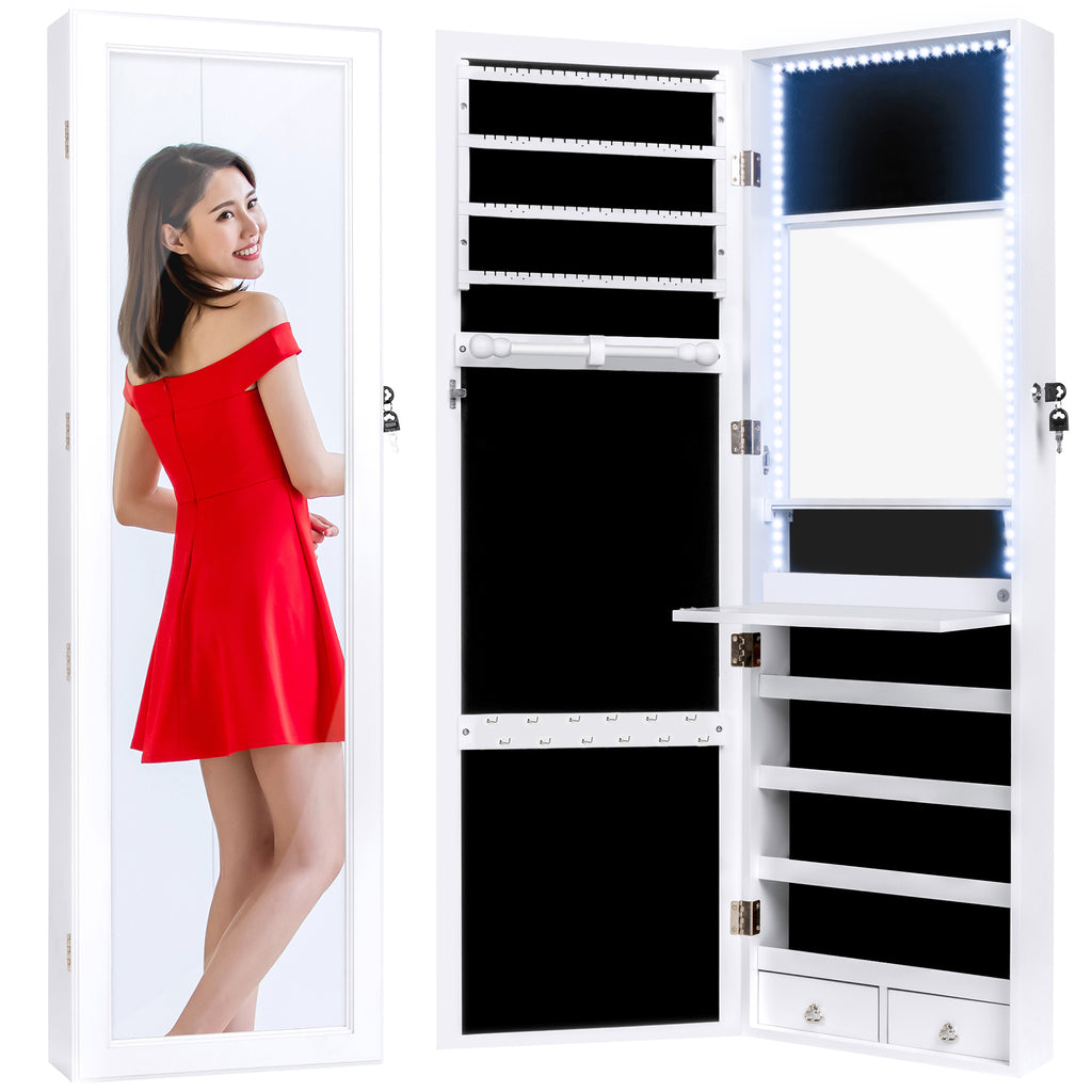 Door/Wall Mount Mirror Jewelry Cabinet Armoire w/ Inside Mirror, LED Lights