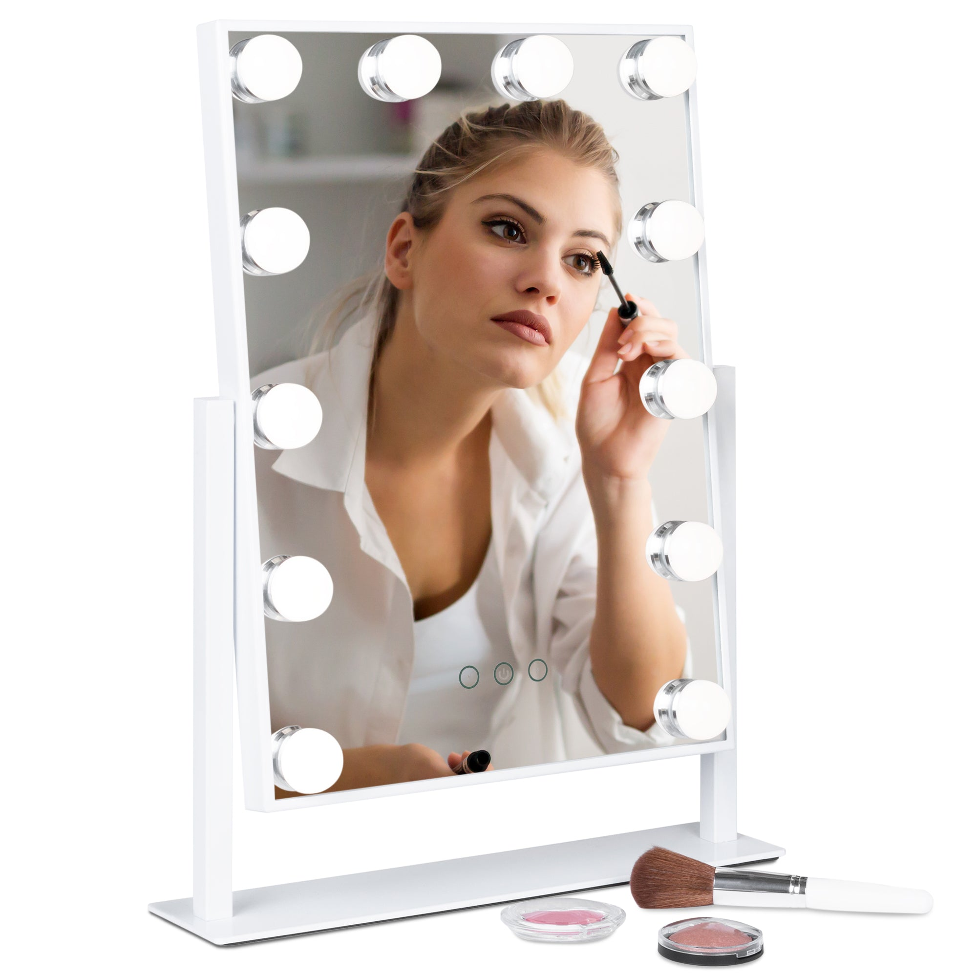 Smart Touch Vanity Mirror w/ 12 LEDs, Adjustable Color Temp & Brightness