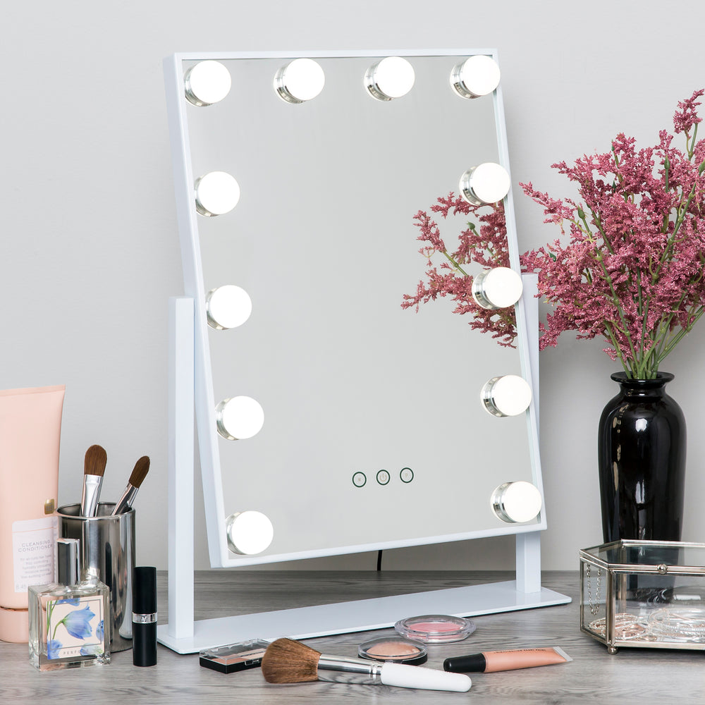 Hollywood Makeup Vanity Mirror w/ Smart Touch, Adjustable Color Temp, 12 LED
