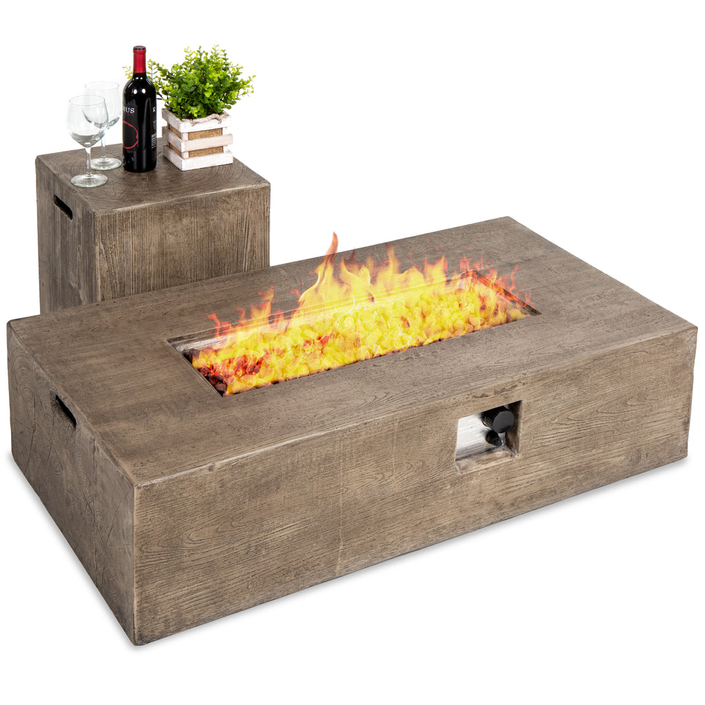 48x27in 50,000 BTU Propane Fire Pit Table w/ Side Table Tank Storage, Cover