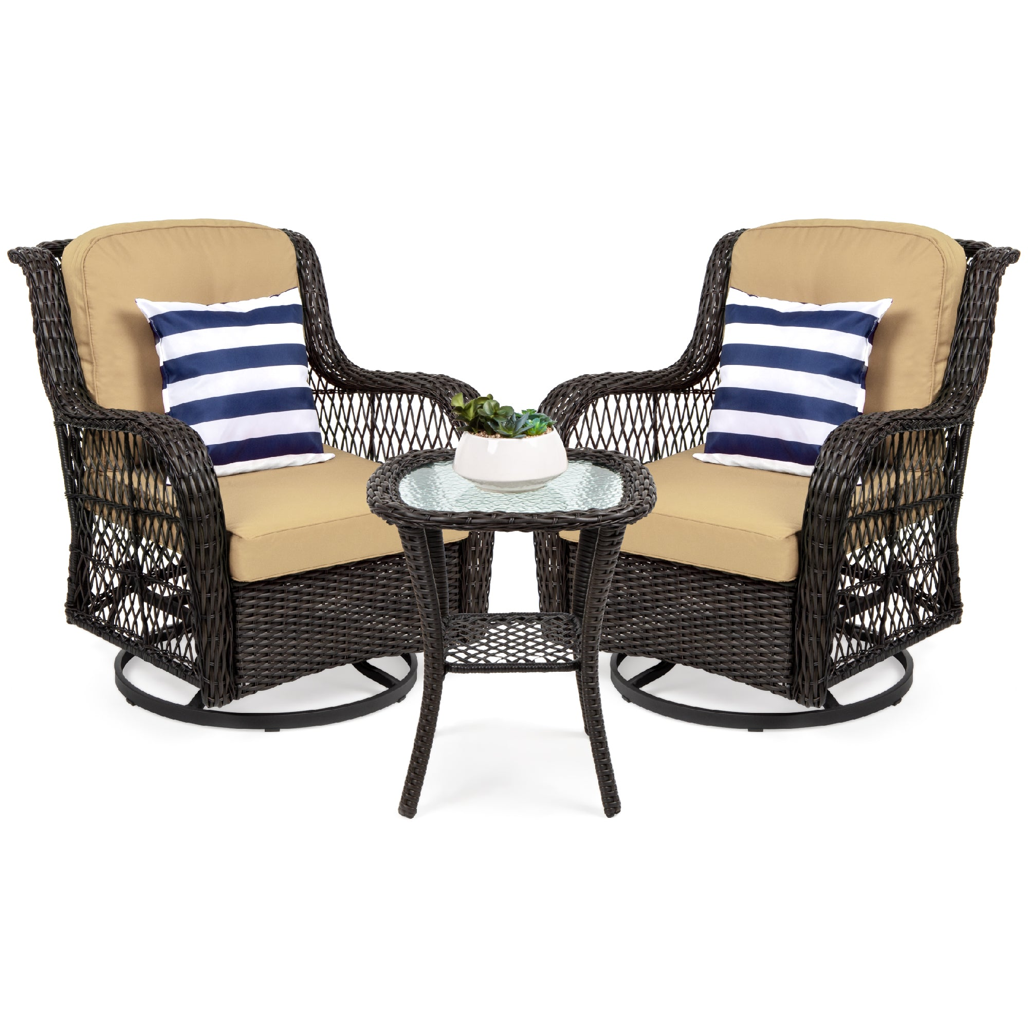Patio Furniture Sets With Swivel Chairs.3 Piece Patio Wicker Bistro Furniture Set W 2 Swivel Rocking Chairs Table