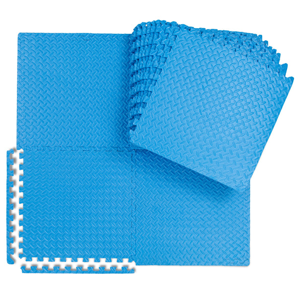 24-Piece 2x2ft Interlocking Puzzle Exercise Mat Tiles W
