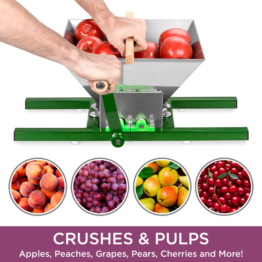 7L Stainless Steel Manual Fruit Crusher w/ Crank Handle