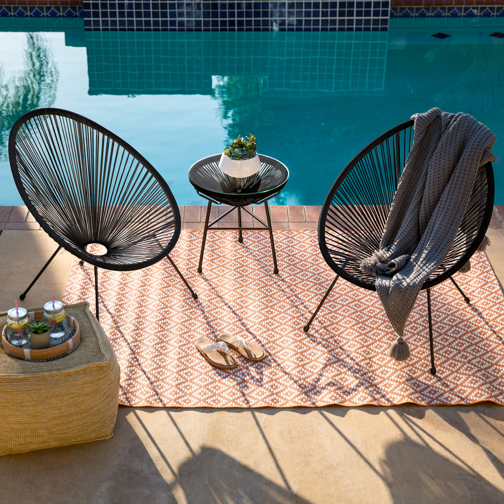 3-Piece Patio Woven Rope Acapulco Conversation Bistro Set w/ Glass Top Table