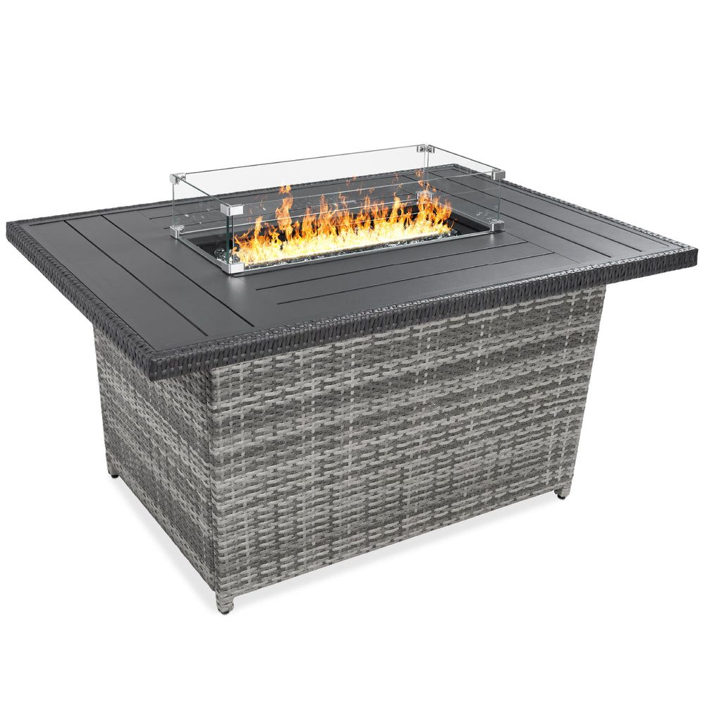52in Wicker Propane Fire Pit Table, 50,000 BTU w/ Glass Wind Guard, Cover