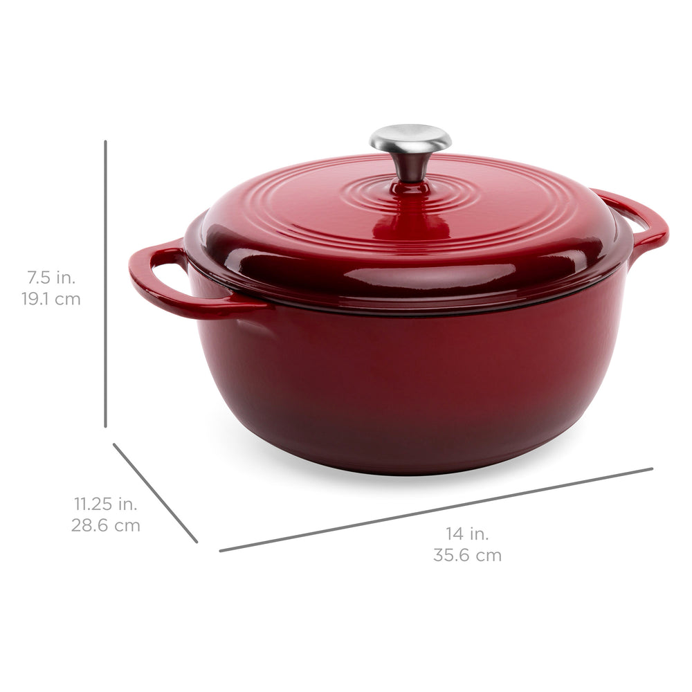 6qt Enameled Cast Iron Dutch Oven Kitchen Cookware w/ Side Handles