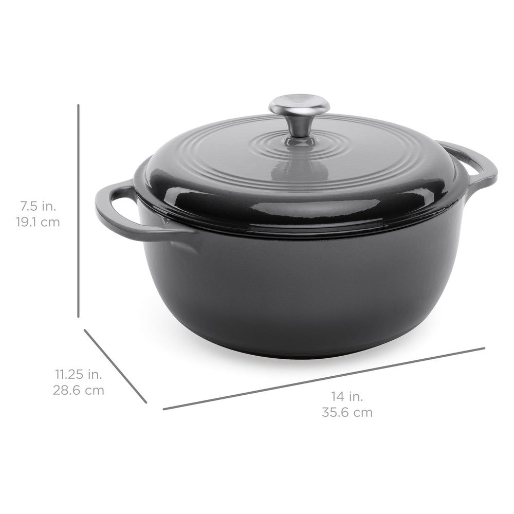 6qt Non-Stick Enamel Cast-Iron Dutch Oven Kitchen Cookware w/ Side Handles