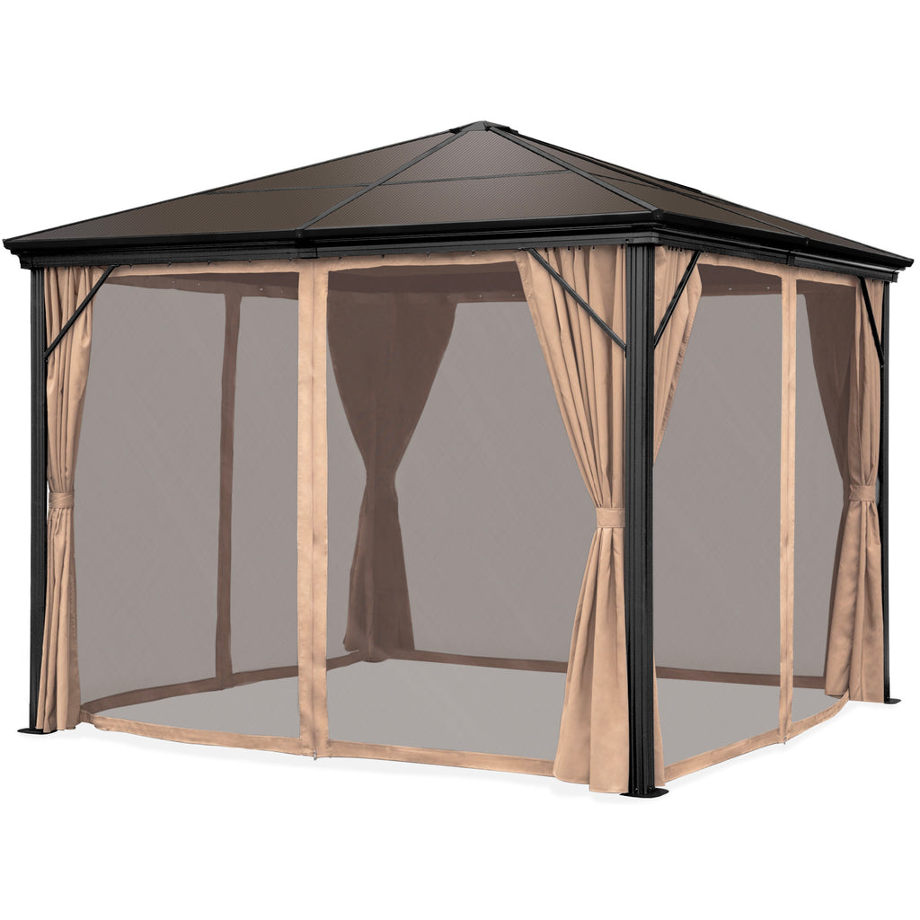 Outdoor Hardtop Gazebo w/ Aluminum Frame, Side Curtains, Netting - 10x10ft