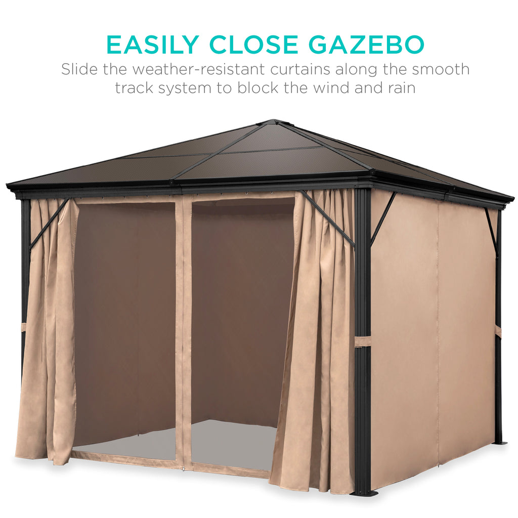 10x10ft Outdoor Aluminum Frame Hardtop Gazebo w/ Side Curtains, Bug Nets