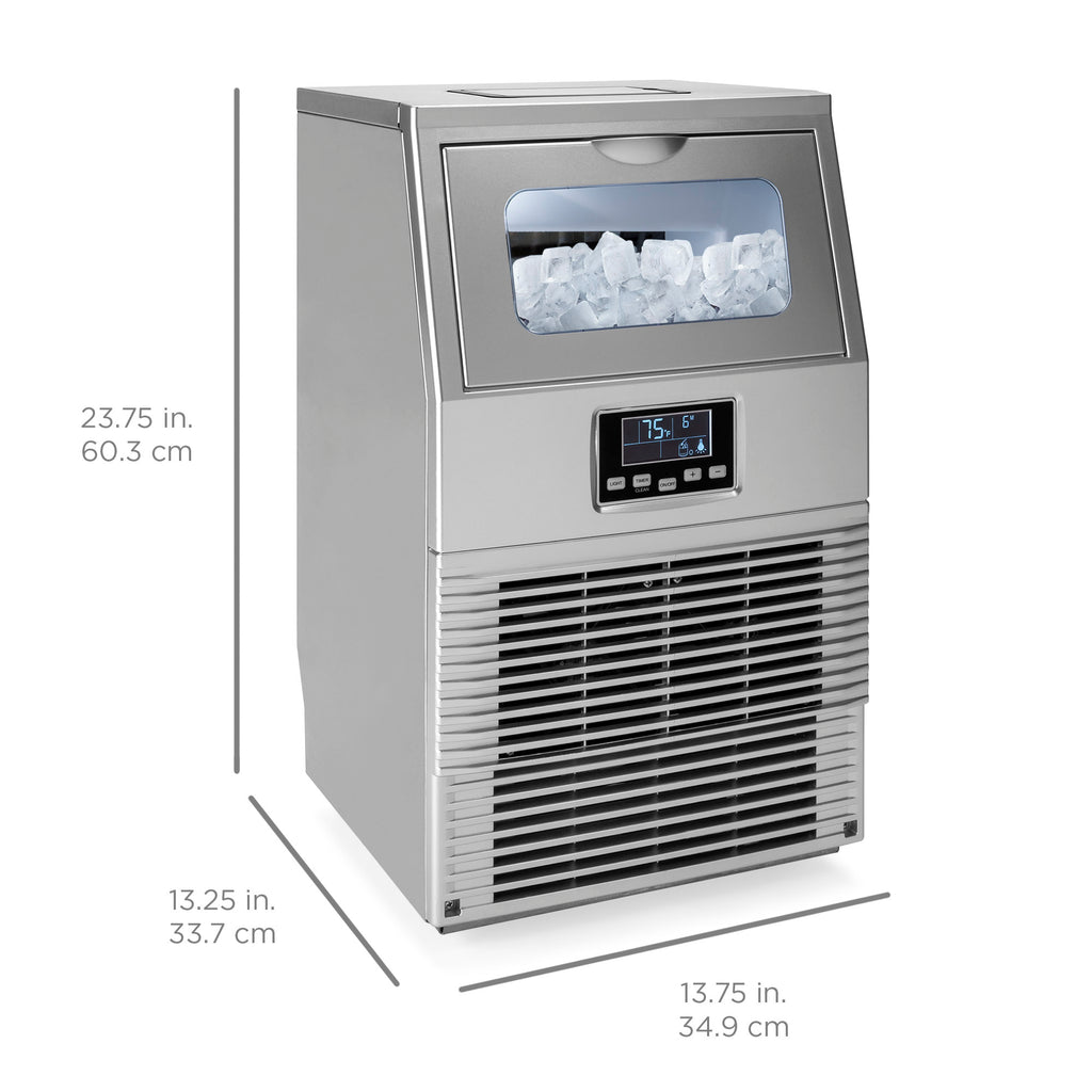 66lb/24hr Automatic Portable Stainless-Steel Ice Maker Machine w/ Ice Scoop