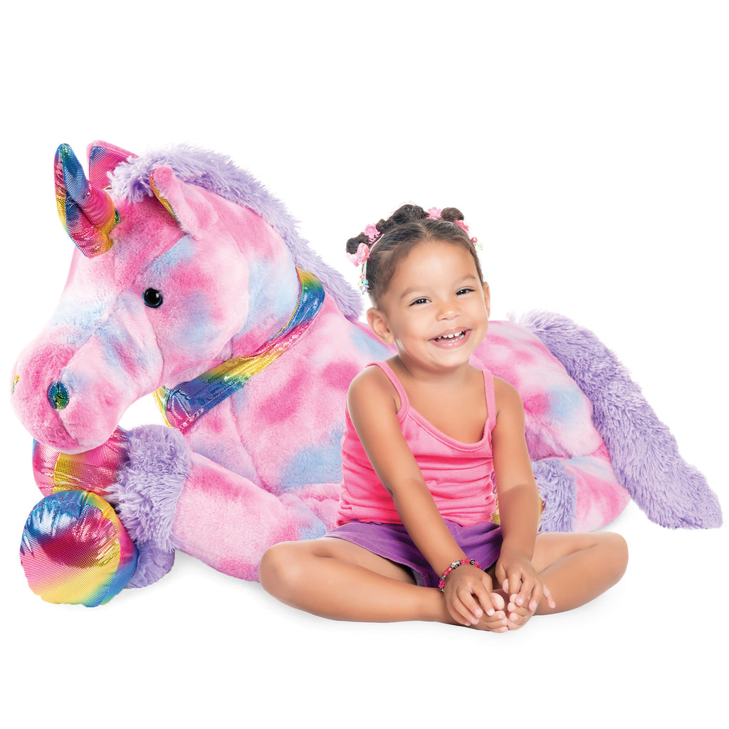 Kids Extra Large Life-Size Plush Rainbow Unicorn Stuffed Animal w/ Soft Fur